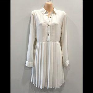 Cream Pleated Express Dress